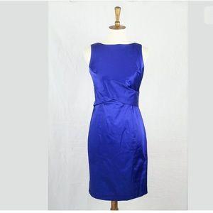 New Talbots Royal Blue Satin Stretch Sheath Dress